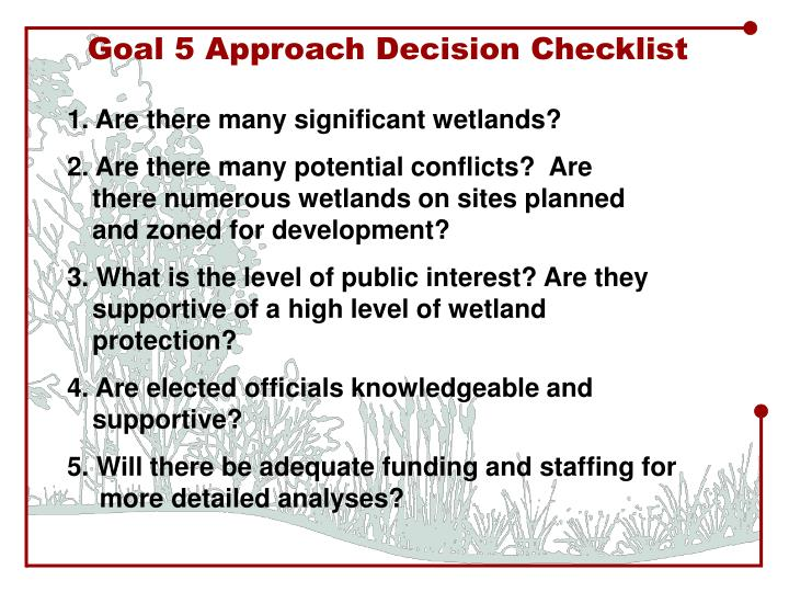 Goal 5 Approach Decision Checklist