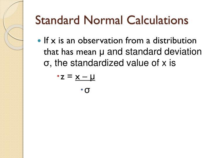 Standard Normal Calculations