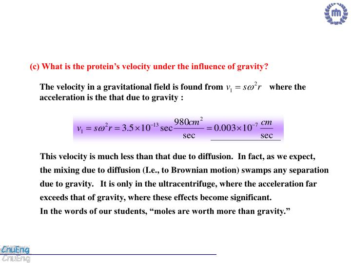 (c) What is the protein's velocity under the influence of gravity?
