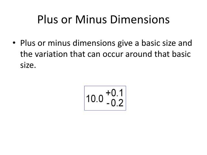 Plus or Minus Dimensions