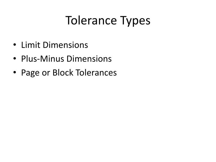 Tolerance Types
