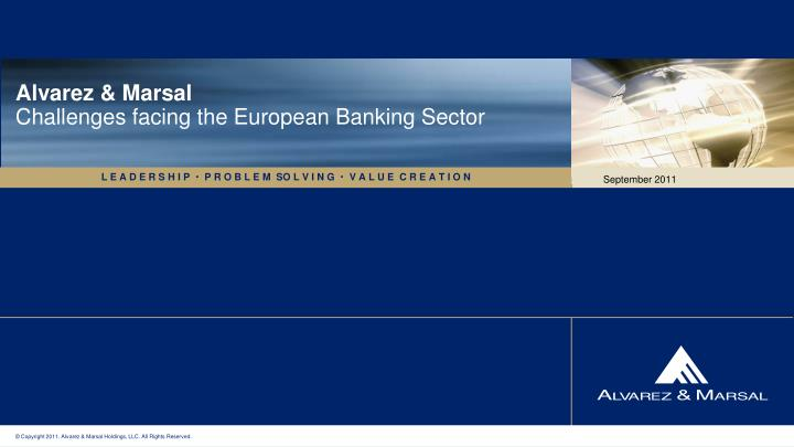 Alvarez marsal challenges facing the european banking sector