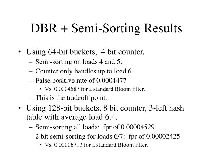 DBR + Semi-Sorting Results