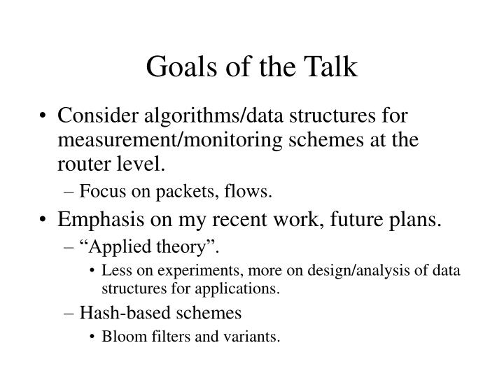 Goals of the talk