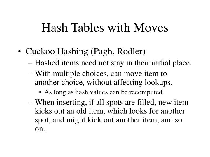 Hash Tables with Moves
