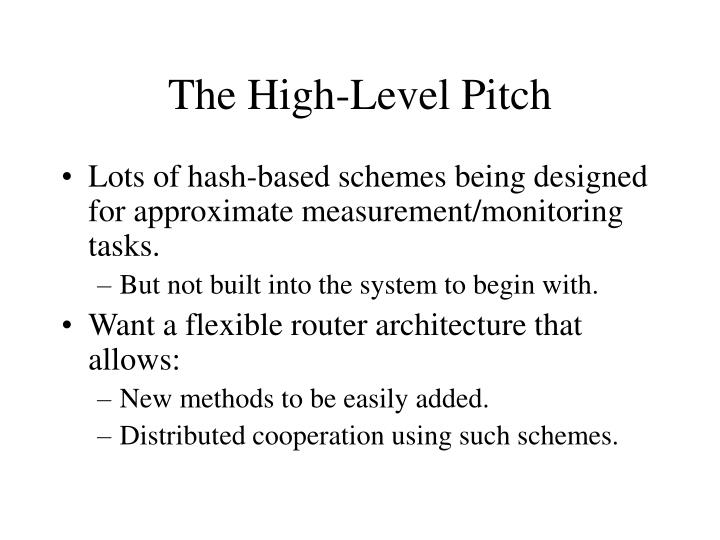 The High-Level Pitch