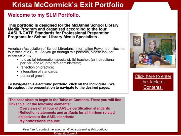 Krista mccormick s exit portfolio
