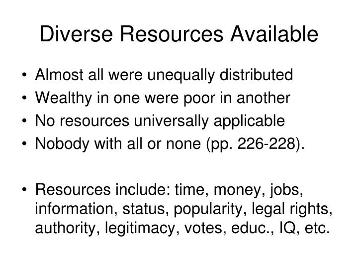 Diverse Resources Available