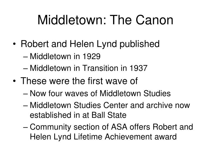 Middletown: The Canon