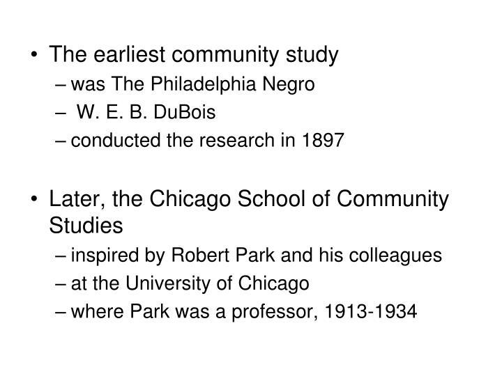 The earliest community study