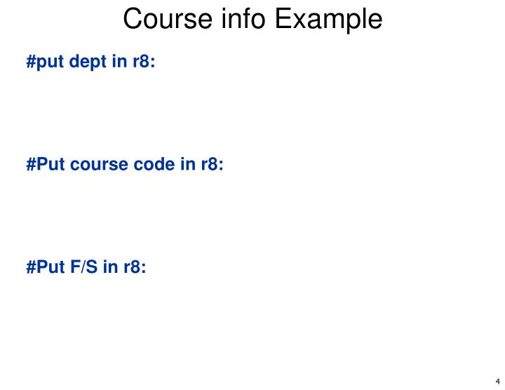 Course info Example