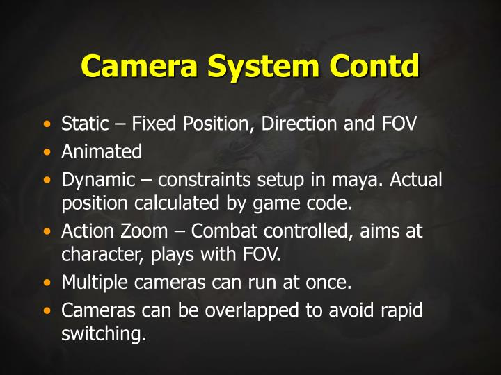 Camera System Contd