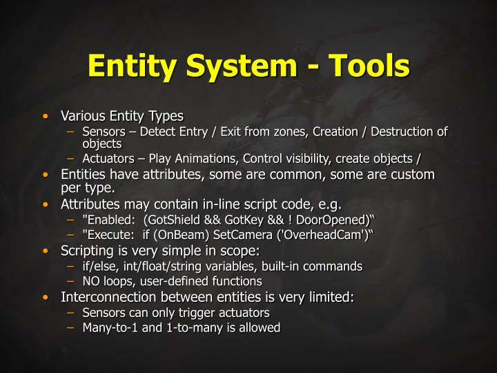 Entity System - Tools