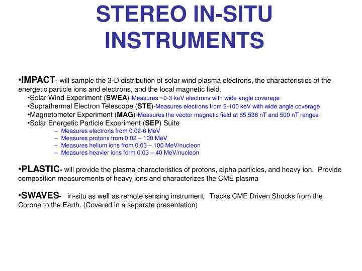 STEREO IN-SITU INSTRUMENTS