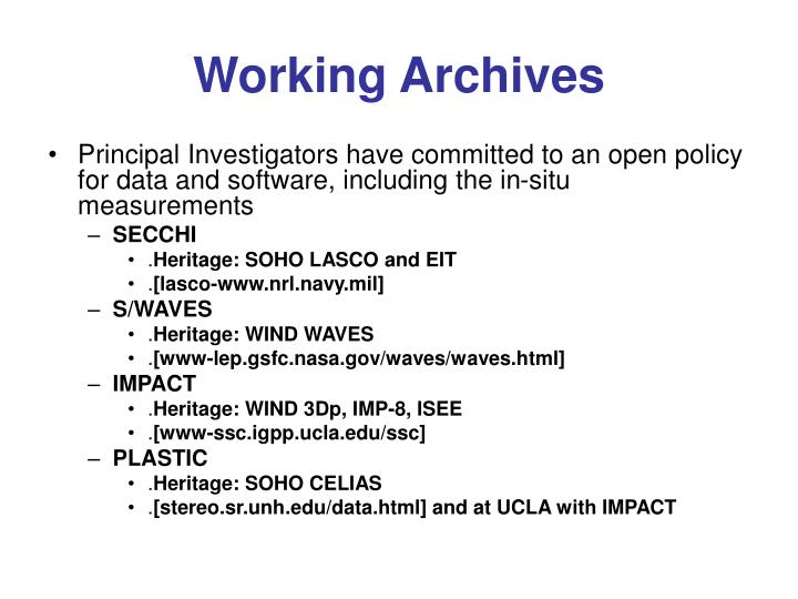 Working Archives