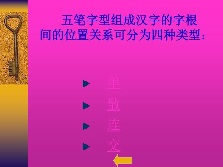 五笔字型组成汉字的字根间的位置关系可分为四种类型