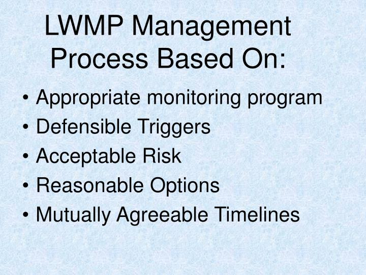 LWMP Management Process Based On: