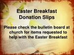 easter breakfast donation slips