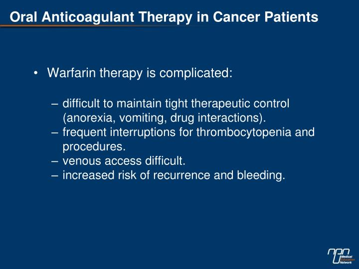 Oral Anticoagulant Therapy in Cancer Patients