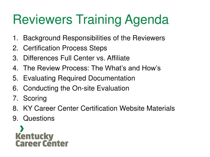 Reviewers training agenda