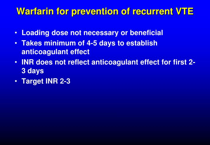 Warfarin for prevention of recurrent VTE