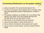 commentary reflections on the gospel reading