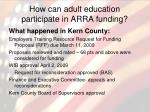 how can adult education participate in arra funding