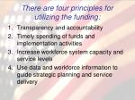there are four principles for utilizing the funding