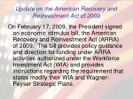 update on the american recovery and reinvestment act of 2009