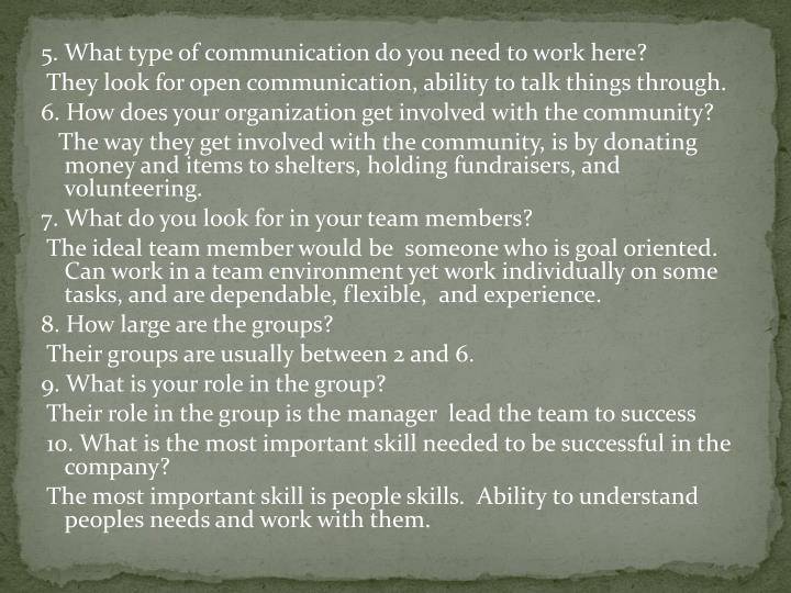 5.What type of communication do you need to work here?