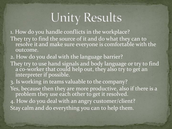 Unity Results