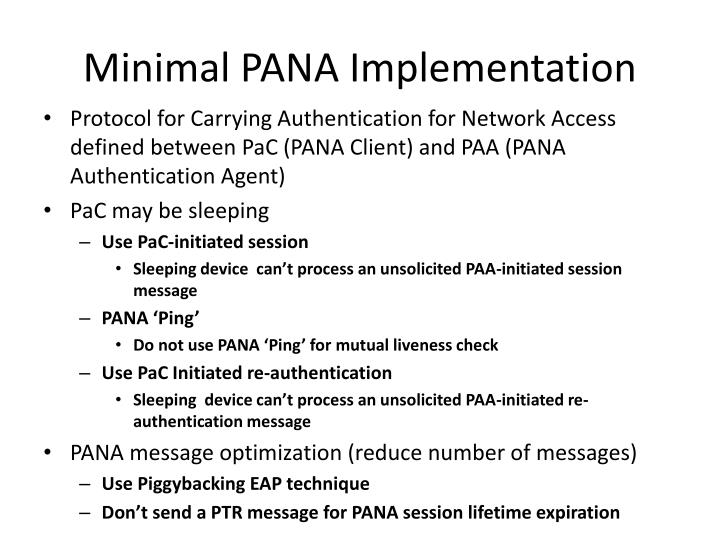 Minimal PANA Implementation