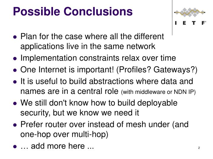 Possible conclusions