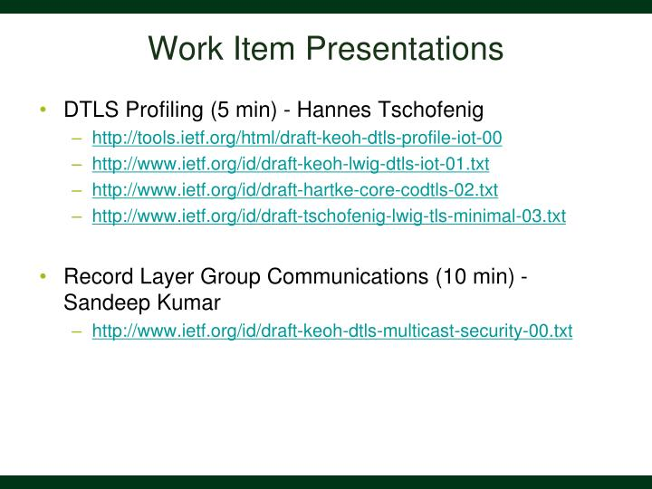 Work Item Presentations