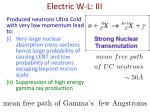 electric w l iii