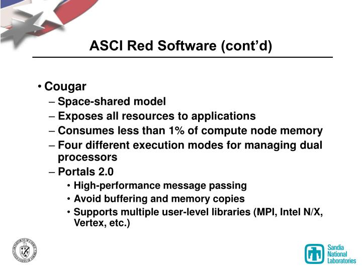 ASCI Red Software (cont'd)