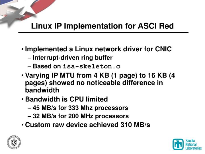 Linux IP Implementation for ASCI Red