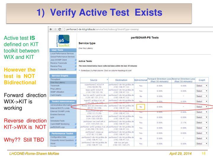 1)  Verify Active Test  Exists