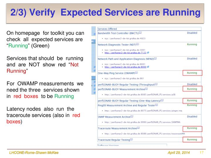 2/3) Verify  Expected Services are Running