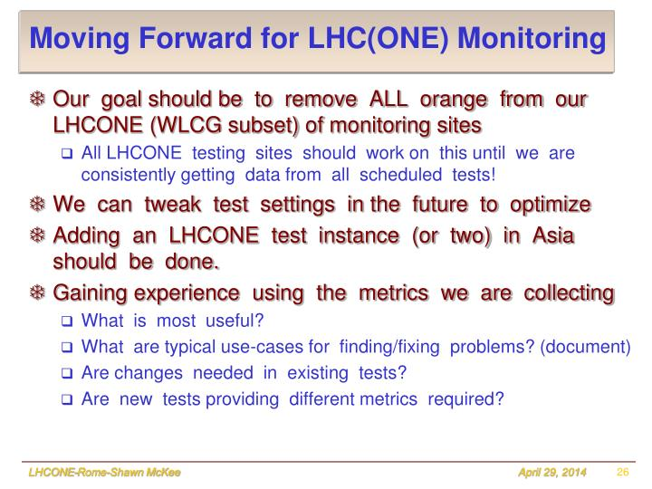 Moving Forward for LHC(ONE) Monitoring