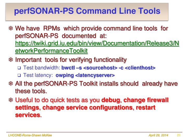 perfSONAR-PS Command Line Tools