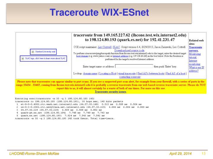 Traceroute WIX-ESnet