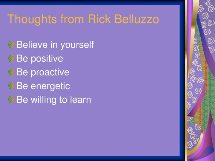 Thoughts from Rick Belluzzo