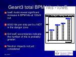 geant3 total bpm hits lowe
