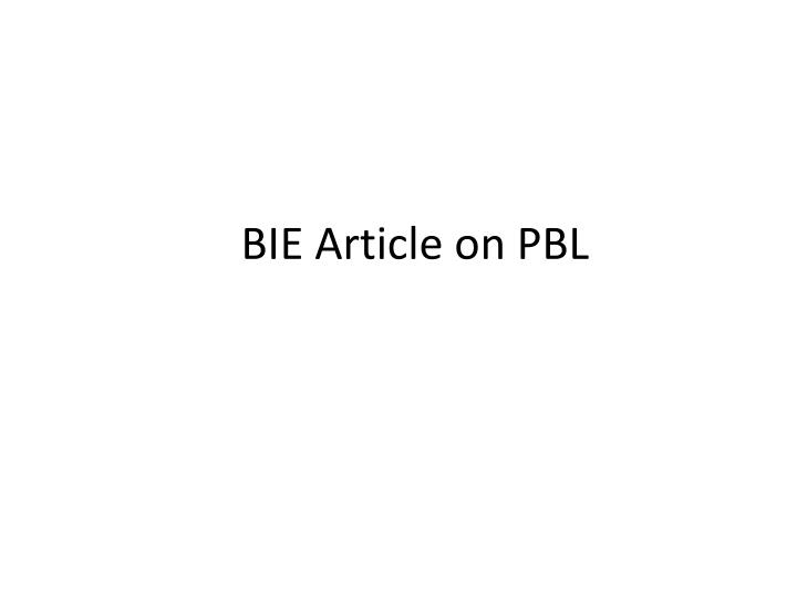 BIE Article on PBL