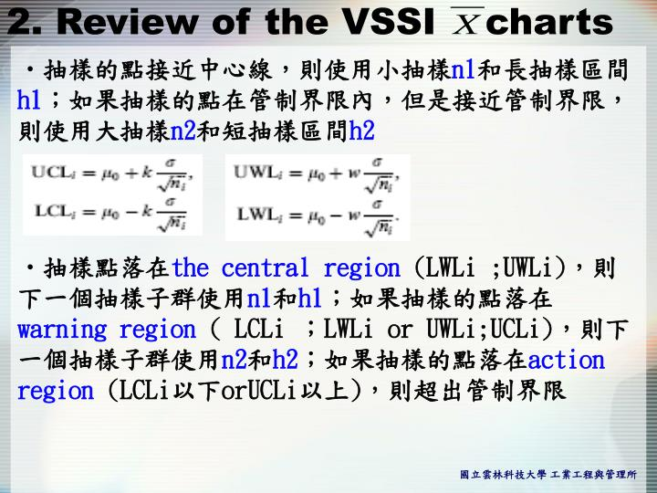 2. Review of the VSSI    charts