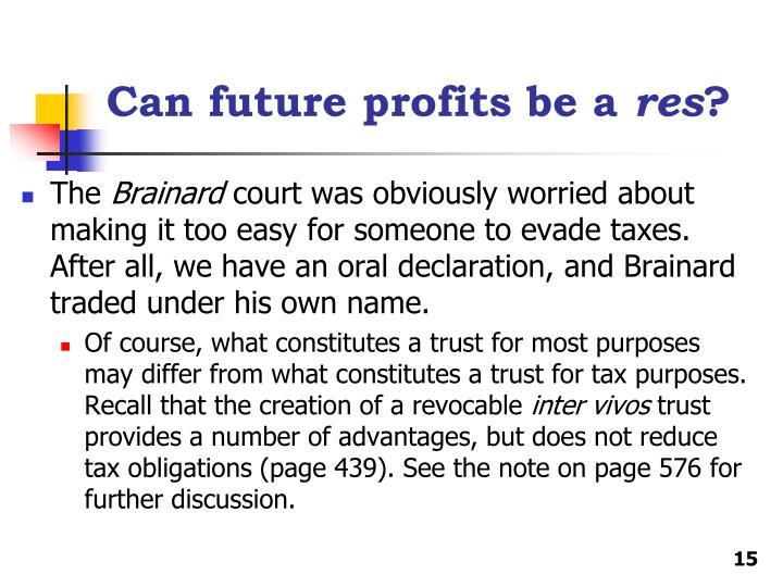 Can future profits be a