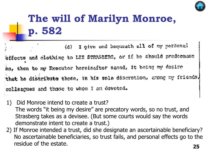 The will of Marilyn Monroe, p. 582