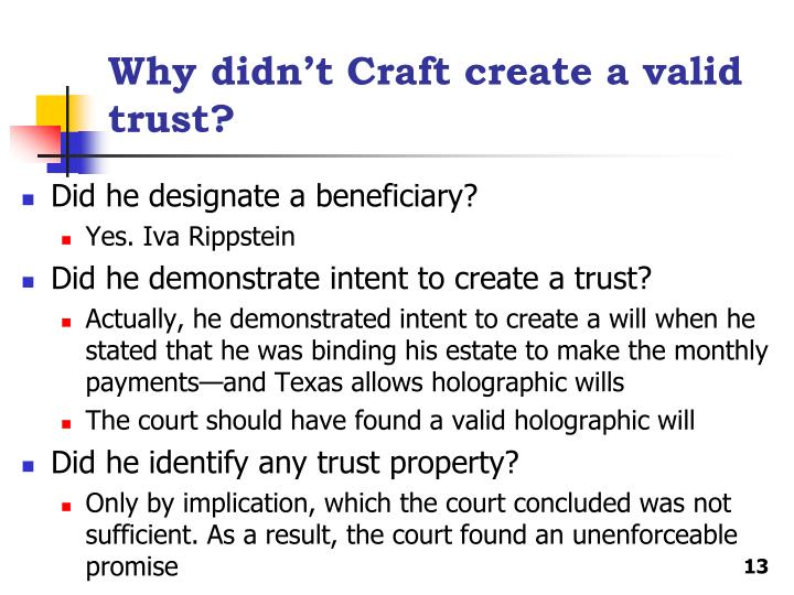 Why didn't Craft create a valid trust?