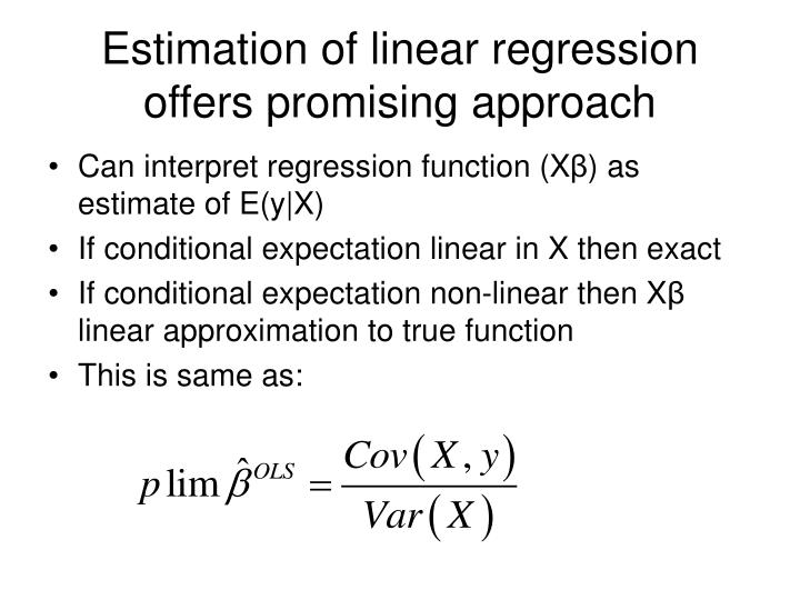 Estimation of linear regression offers promising approach